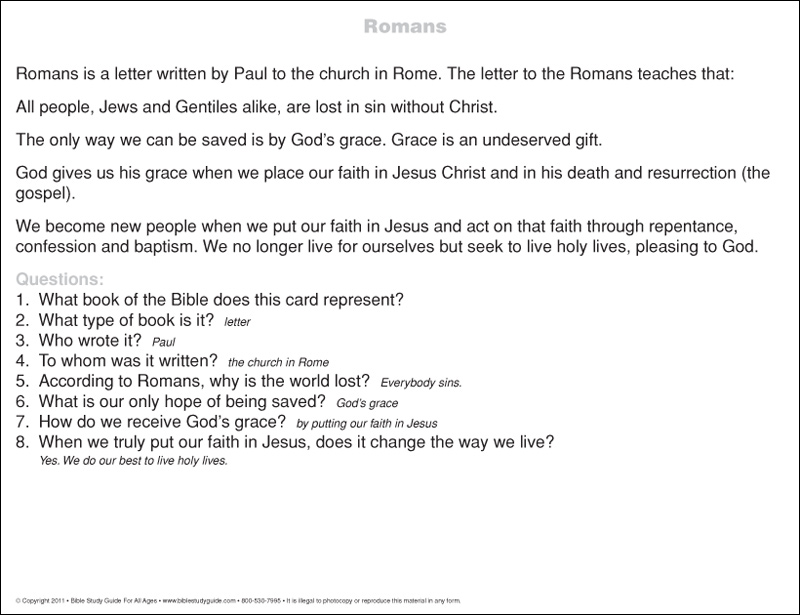 romans bible book summary card back